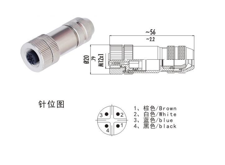 M12金属航空插头
