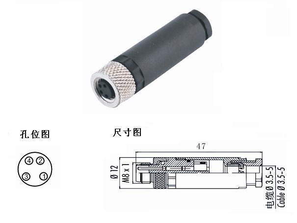 M8连接器4孔